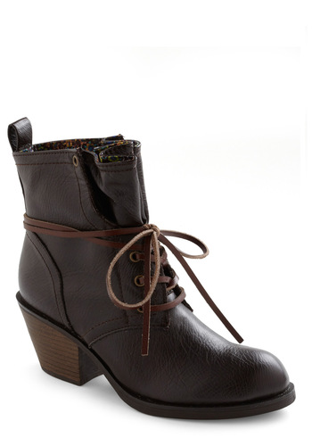Loop the Cute Boot - Brown, Solid, Fall, Lace Up, Faux Leather, Mid, Variation