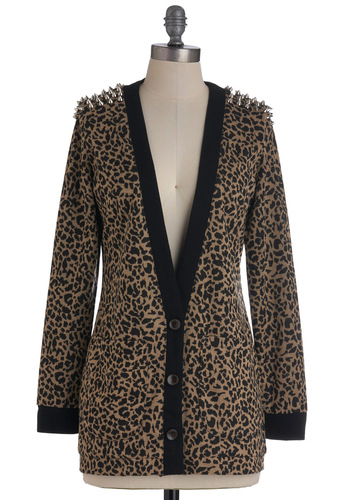 Spike Up the Band Cardigan - Brown, Black, Animal Print, Studs, Long Sleeve, Pockets, Statement, Fall, 90s, Mid-length, International Designer