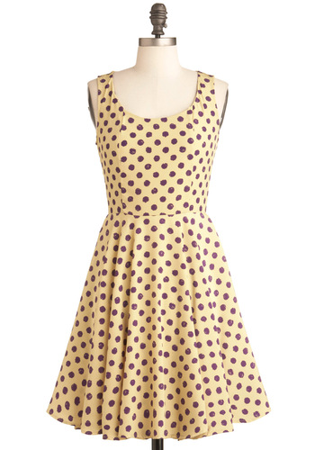 A Dot Like Love Dress - Mid-length, Polka Dots, Party, A-line, Yellow, Purple, Tank top (2 thick straps), Fit & Flare