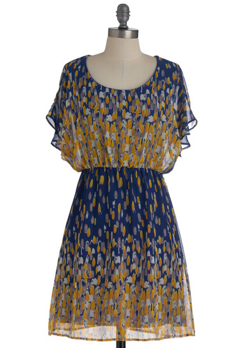 Paint No Sunshine Dress - Multi, Yellow, Blue, White, Print, Casual, A-line, Short Sleeves, Short, Sheer