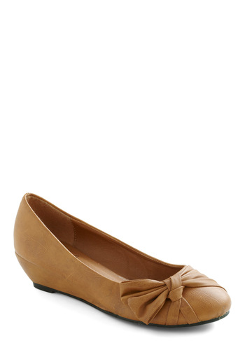 Basic Fashion Arithmetic Wedge - Tan, Solid, Bows, Wedge
