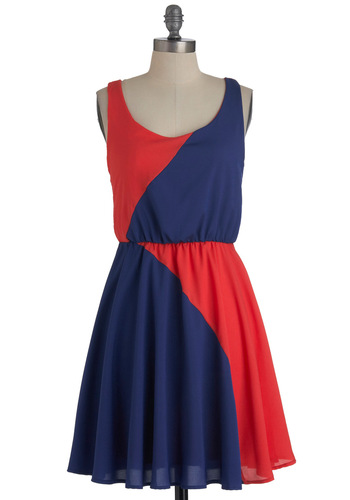 Color Study Dress - Mid-length, Orange, Blue, Casual, A-line, Tank top (2 thick straps), Summer
