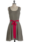 Sepia Scene Dress - Mid-length, Stripes, Casual, A-line, Tank top (2 thick straps), Belted, Grey, Pink