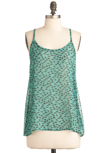 I Dino Top - Green, Brown, Print with Animals, Casual, Spaghetti Straps, Mid-length