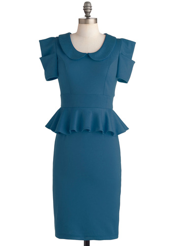 Work with Me Dress in Pool Blue - Blue, Solid, Peter Pan Collar, Ruffles, Work, 40s, 80s, Short Sleeves, Peplum, Best Seller, Collared, Vintage Inspired, Variation, Long