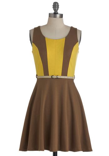 Banana Parfait Dress - Short, Brown, Yellow, A-line, Sleeveless, Fall, Belted