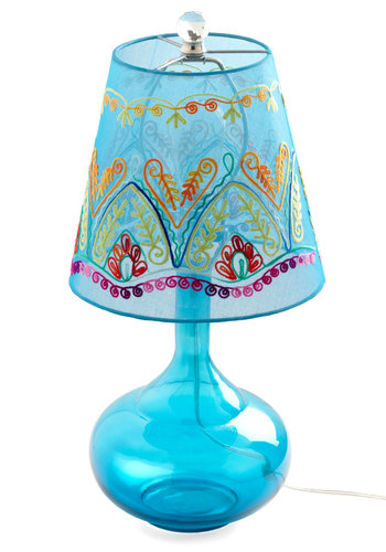 Come Bright In Lamp in Blue by Karma Living - Blue, Boho, Embroidery, Dorm Decor