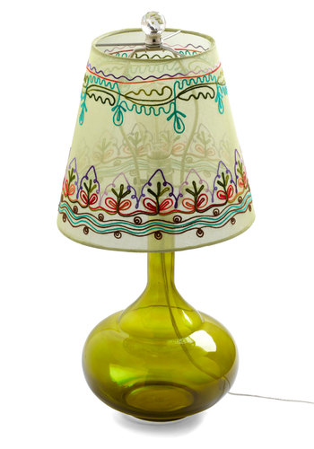 Come Bright In Lamp in Green by Karma Living - Green, Boho, Multi, Embroidery, Dorm Decor