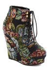 Tiptoe Tapestry Bootie - Multi, Floral, High, Platform, Wedge, Lace Up, Blue, Black, Steampunk