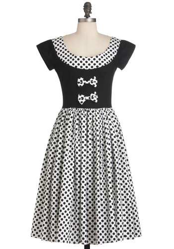 Dots to Think About Dress - Long, White, Polka Dots, Bows, Short Sleeves, Party, A-line, Black, Cocktail, Cotton, Fit & Flare