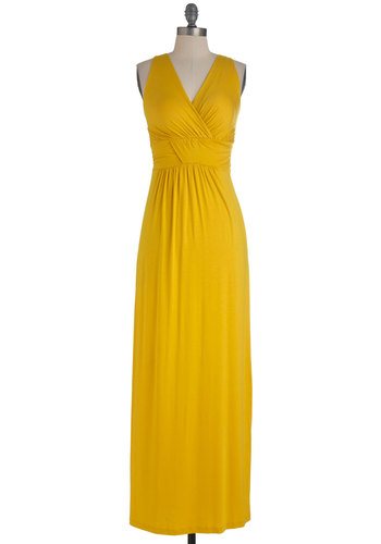Bright as You Are Dress - Long, Yellow, Solid, Maxi, Sleeveless, Crochet, Casual, Summer