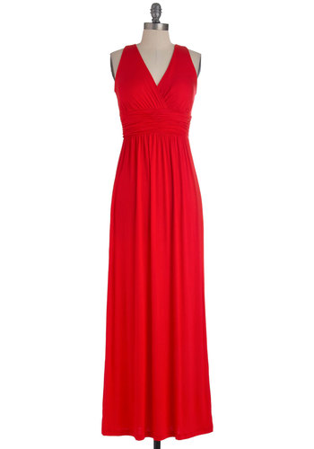 Picking Strawberries Dress - Long, Red, Solid, Casual, Maxi, Sleeveless, Summer, Ruching, Beach/Resort