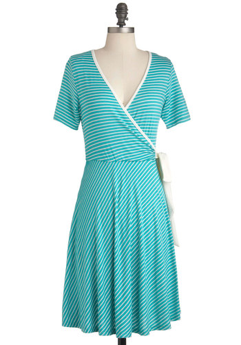 Aqua Moment Dress - Mid-length, Blue, White, Stripes, Casual, Short Sleeves, Wrap, V Neck, Summer
