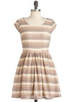 Spiced Chai Dress - Short, Tan / Cream, Cap Sleeves, Fit & Flare, Stripes, Crochet, Party, A-line, Tan