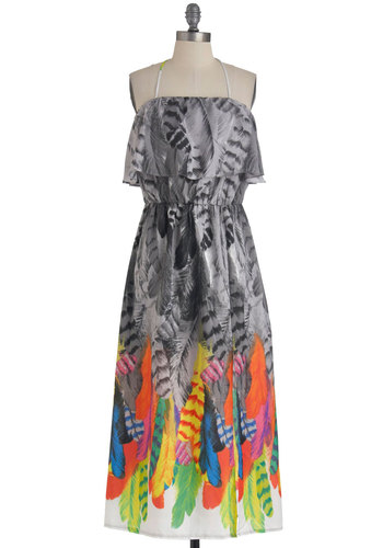 Temple of Plume Dress - Long, Ruffles, Party, Halter, Print, Pockets, Maxi, Summer, Multi, Grey, Neon, Tis the Season Sale, Beach/Resort