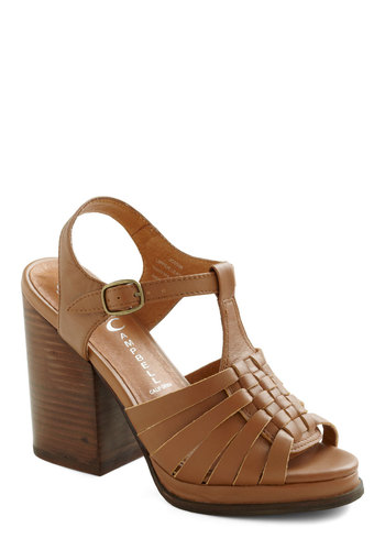 Weave Only Just Begun Heel by Jeffrey Campbell - Solid, Mid, Chunky heel, Brown, Woven
