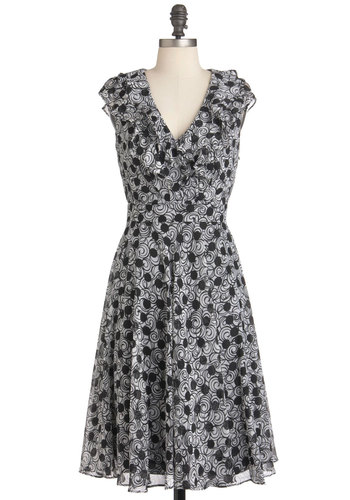 Be Quill My Heart Dress - Black, White, Print, Ruffles, Party, Work, A-line, Sleeveless, Long, Cocktail, V Neck