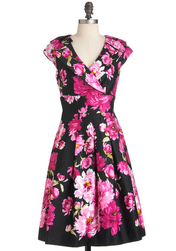 If You Peonies Dress - Green, Pink, Black, Floral, Party, A-line, Spring, Pleats, Cap Sleeves, Long, Cocktail, Cotton, Fit & Flare, V Neck