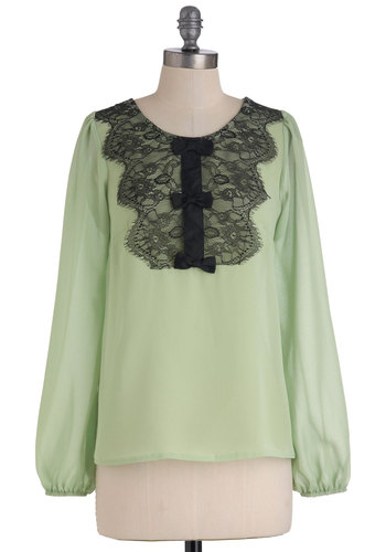 Pastel of Times Past Top - Green, Black, Solid, Bows, Lace, Casual, Vintage Inspired, Long Sleeve, Mid-length, Scallops