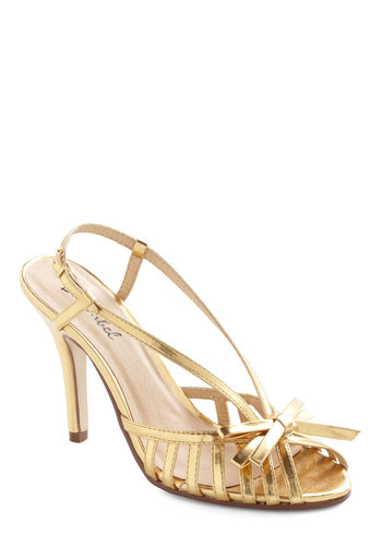 Surprise and Shine Heel in Gold - Gold, Solid, Bows, Prom, Wedding, Mid, Slingback, Cocktail, Holiday Party, Peep Toe, High, Strappy