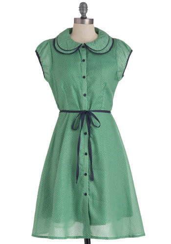 Meadow My Goodness Dress - Green, Blue, White, Polka Dots, Peter Pan Collar, Work, Shirt Dress, Cap Sleeves, Long