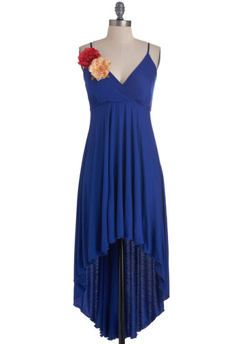 Sunset in Monaco Dress - Mid-length, Blue, Solid, Flower, Party, Spaghetti Straps, High-Low Hem, V Neck, Summer, Exclusives