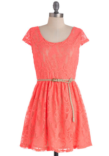 Bright There Dress in Pink - Short, Lace, A-line, Cap Sleeves, Neon, Belted, Pink, Solid, Casual, Variation