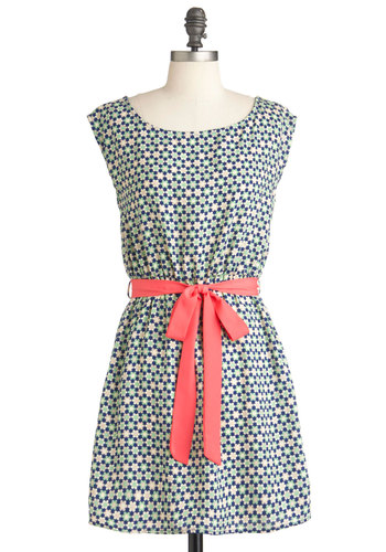 Flower Power Patch Dress - Short, Multi, Green, Blue, Pink, Floral, Casual, Belted, A-line, Cap Sleeves, Boat