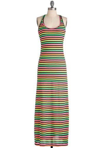 Meet Neon the Dance Floor Dress - Long, Multi, Orange, Yellow, Green, Pink, Black, Stripes, Casual, Maxi, Neon, Racerback, Summer, Spring, Beach/Resort, Scoop