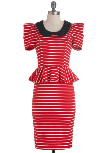 Work with Me Dress in Red Stripes - Red, Black, White, Stripes, Peter Pan Collar, Work, Peplum, Ruffles, Vintage Inspired, 40s, Short Sleeves, Long, Exclusives, Press Placement, Best Seller, Collared, 80s, Variation, Top Rated