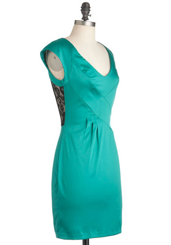 Ivy League Luncheon Dress - Mid-length, Green, Black, Lace, Party, Shift, Cap Sleeves, Solid, Floral, Cocktail, Exposed zipper, Girls Night Out, Sheer, Satin, V Neck
