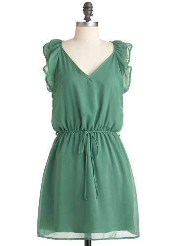 Clover and Above Dress - Short, Green, Solid, Ruffles, A-line, Cap Sleeves, Belted, Sheer, V Neck