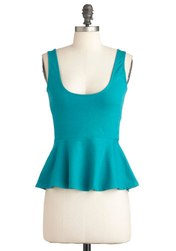 Teal a Glance Top - Mid-length, Blue, Solid, Tank top (2 thick straps), Peplum, Summer, Tis the Season Sale