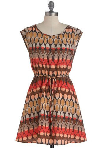 The Other Heel to Drop Dress - Mid-length, Multi, Brown, Tan / Cream, Print, Cutout, Casual, A-line, Belted, Orange, Cap Sleeves, Tis the Season Sale