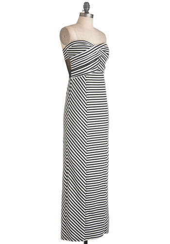 You Look Striping Dress - Long, White, Stripes, Maxi, Strapless, Cutout, Summer, Black, Party