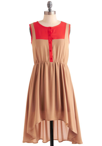 In Taupe Form Dress - Short, Tan, Buttons, Casual, Sleeveless, High-Low Hem, Orange