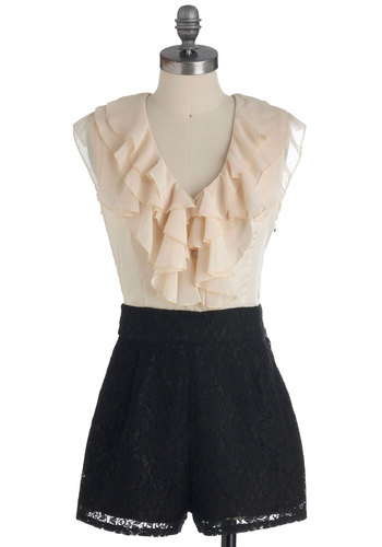 Piano Lessons Romper - Tan / Cream, Lace, Pockets, Ruffles, Sleeveless, Black, Solid, Party, Long
