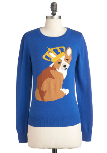 Master of the House Sweater in Blue by Louche - Mid-length, Blue, Yellow, Brown, White, Print with Animals, Long Sleeve, Casual, Fall, International Designer, Novelty Print, Crew