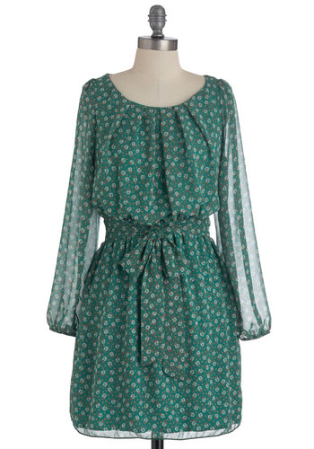 Fancy Freesia Dress - Short, Green, Red, White, Floral, A-line, Long Sleeve, Belted, Sheer