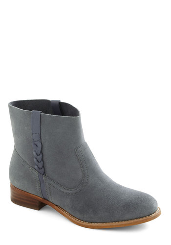 Slate Afternoon Boot - Solid, Flat, Braided, Casual, Fall, Grey