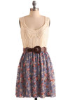 Kiss the Cookout Dress - Mid-length, Brown, Tan / Cream, Floral, Lace, Casual, Twofer, Belted, Multi, Blue, Pink, Tank top (2 thick straps), Spring