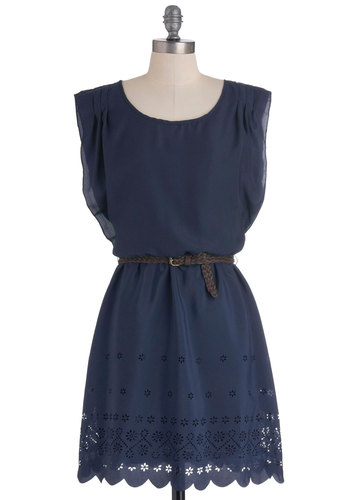 With the Best of Hem Dress - Mid-length, Blue, Solid, Cutout, Casual, Sleeveless, Belted, A-line