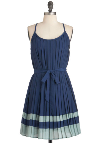 Fashionable Fan Dress - Mid-length, Blue, Green, Solid, Pleats, Party, Summer, Belted, Tent / Trapeze, Spaghetti Straps