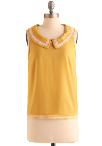 Time is Honey Top - Mid-length, Yellow, White, Peter Pan Collar, Trim, Solid, Embroidery, Work, Sleeveless, Collared