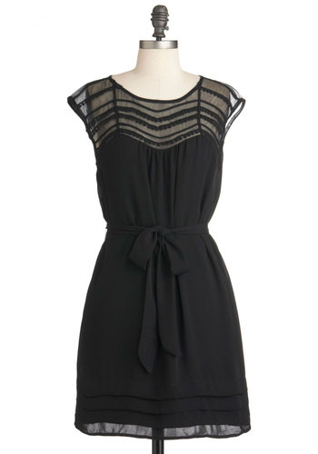 Lacking Nothing Dress - Mid-length, Black, Solid, Cap Sleeves, Belted, Sheer, Party, Shift, Trim