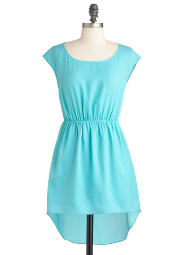 Tic Tac Totally Dress - Short, Blue, Solid, Cutout, Cap Sleeves, High-Low Hem, Party, Summer