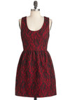 Prague Frock Dress in Crimson - Short, Red, Black, Exposed zipper, Lace, Party, A-line, Floral, Tank top (2 thick straps), Cocktail, Holiday Party