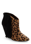 Betsey Johnson Wild Southwest Bootie by Betsey Johnson - Animal Print, Fringed, High, Wedge, Brown, Black, Party, Girls Night Out, Leather, Tis the Season Sale