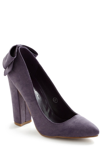 Raisin the Roof Heel - Purple, Solid, Bows, High, Chunky heel