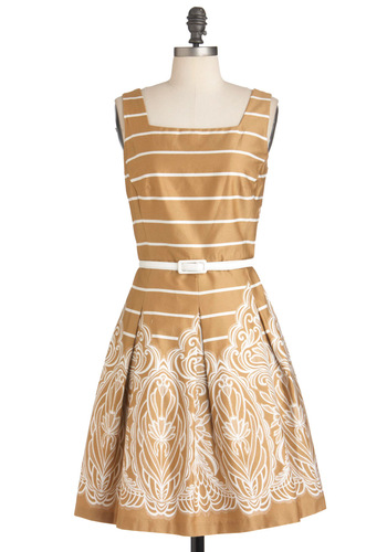 Under the Trellis Dress - Tan, White, Stripes, Pleats, Party, Belted, Fit & Flare, Tank top (2 thick straps), Mid-length